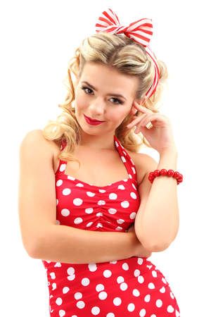 Beautiful girl with pretty smile in pinup style, isolated on white