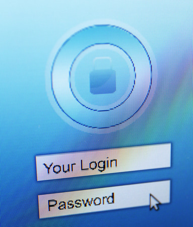 Login and password on monitor screen photo