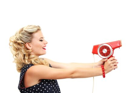 Beautiful girl with retro hairdryer, isolated on white