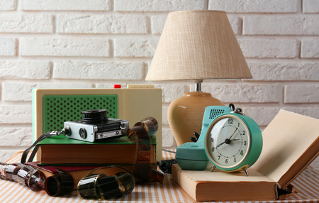 Retro things on table, close up photo