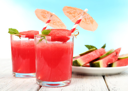 Watermelon cocktail on table, close-up photo