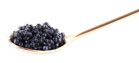 Schwarzen Kaviar in Löffel, isoliert auf weiss Standard-Bild - 33739190