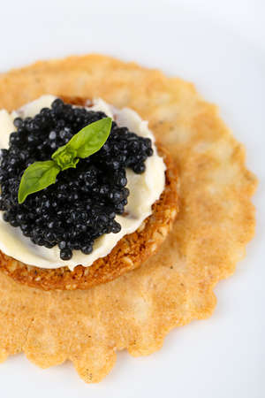 Black caviar with crispy bread on plate closeup photo
