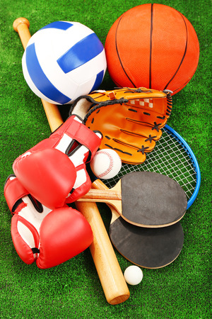 Sports equipment on grass background Stok Fotoğraf
