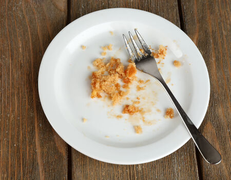 Dirty empty plate with fork on wooden table