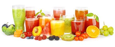 Glasses of tasty fresh juice, isolated on white