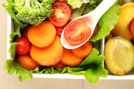 close up food: Tasty vegetarian food in plastic box, close up