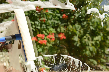 squeegee: Cleaning windows with special squeegee
