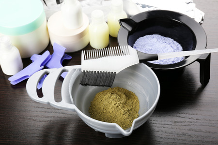 Hairdresser accessories for coloring hair, close-up