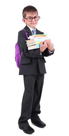 Little schoolboy isolated on white Stock Photo