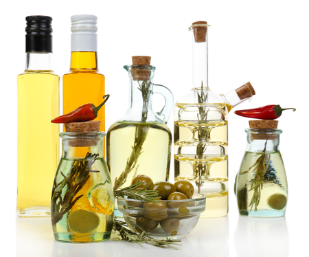 cooking oil: Different sorts of cooking oil, isolated on white
