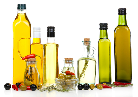 sorts: Different sorts of cooking oil, isolated on white