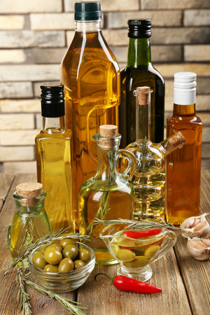Different sorts of cooking oil, close-up photo