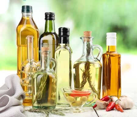 Different sorts of cooking oil, close-up