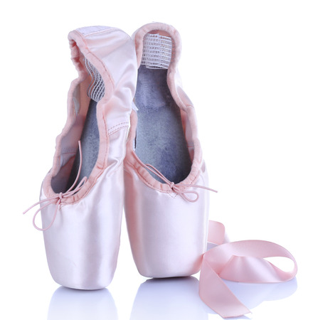 ballet dance: Ballet pointe shoes isolated on white Stock Photo
