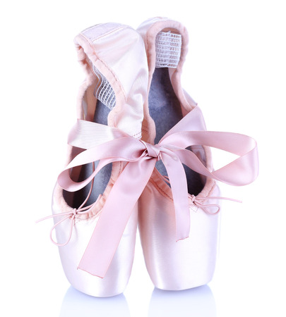 Ballet pointe shoes isolated on white Stock Photo