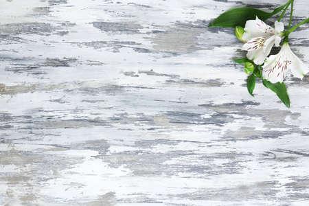 alstromeria: Beautiful Alstroemeria flowers on grey wooden table