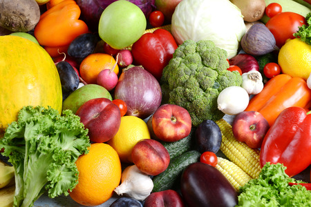 produces: Fresh organic fruits and  vegetables close-up