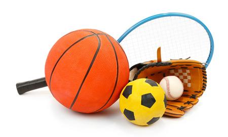 Sports equipment isolated on white Foto de archivo