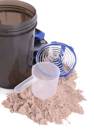 plastic scoop: Whey protein powder with scoop and plastic shaker isolated on white Stock Photo