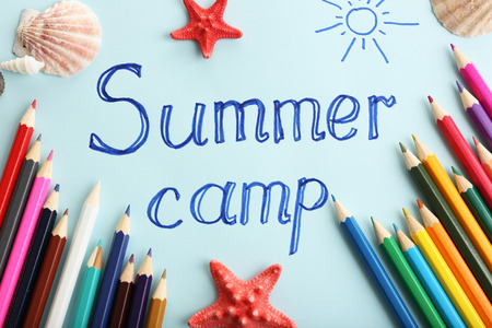 summer sign: Summer Camp concept Stock Photo