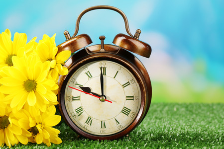 savings: Alarm clock on green grass, on nature background