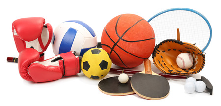 Sports equipment isolated on white 스톡 콘텐츠