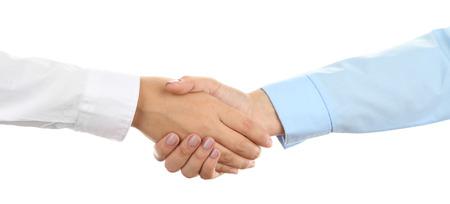 saludo de manos: Apret�n de manos aislado en blanco Foto de archivo