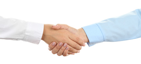 Business handshake  isolated on white Stockfoto