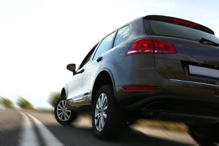Auto op weg Stockfoto