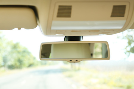 mirror frame: Car rear view mirror, close up Stock Photo