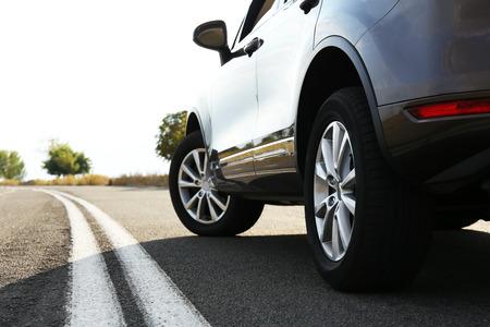 shiny car: Car on road Stock Photo