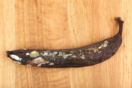 spoilt: Rotten banana isolated on white