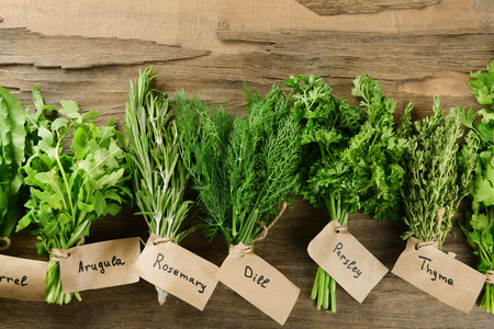 Different fresh herbs on wooden background Stok Fotoğraf - 39459638
