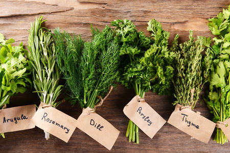 Different fresh herbs on wooden background photo