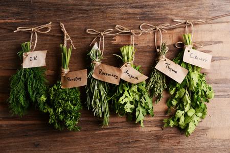 Different fresh herbs on wooden background Stok Fotoğraf - 39509740
