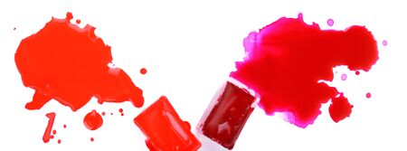 spilled paint: Watercolor paint cubes and spilled paint isolated on white Stock Photo