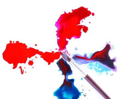 spilled: Brush and spilled paint isolated on white