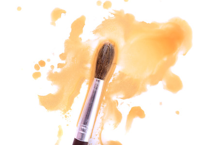 spilled paint: Brush and spilled paint isolated on white