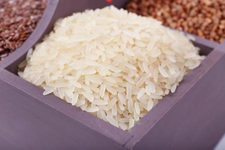 groats: Groats in wooden box closeup