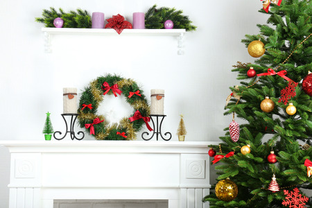 my home: Fireplace with beautiful Christmas decorations in room