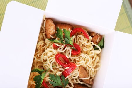 chinese noodles: Chinese noodles in takeaway box closeup