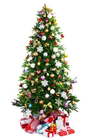 christmas tree presents: Decorated Christmas tree with presents under it isolated on white Stock Photo