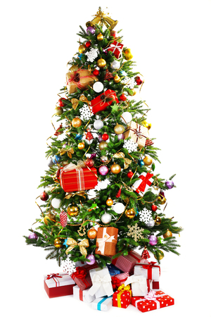 christmas star: Albero di Natale decorato isolata on white Archivio Fotografico
