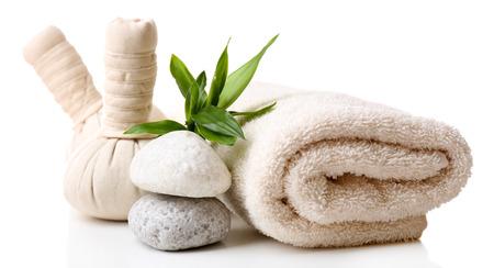 toallas: Configuraci�n del balneario aislado en blanco