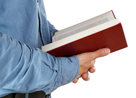 holding bible: Man holding Bible isolated on white Stock Photo