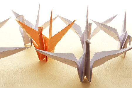 origami: Individuality concept. Origami birds on light background