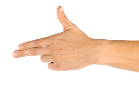 dedo indice: Hombres mano aislados en blanco