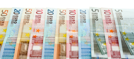 banconote euro: Euro banknotes isolated on white