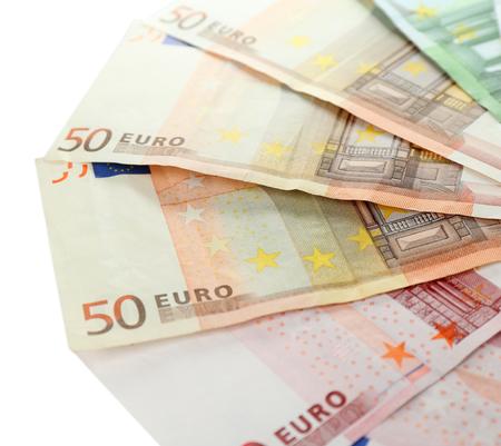 banconote euro: Euro banconote isolato su bianco Archivio Fotografico